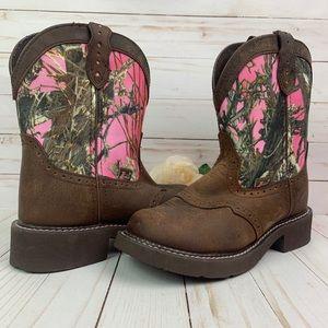 "Justin Gypsy Fatbaby Gemma Pink Camo 8"" Boots 7B"
